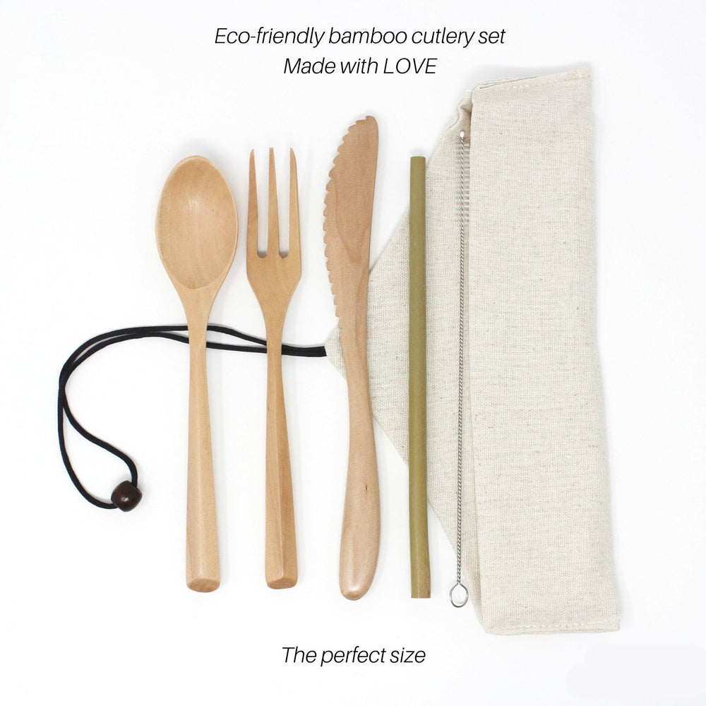 5 Pcs Reusable Bamboo Travel Cutlery Set