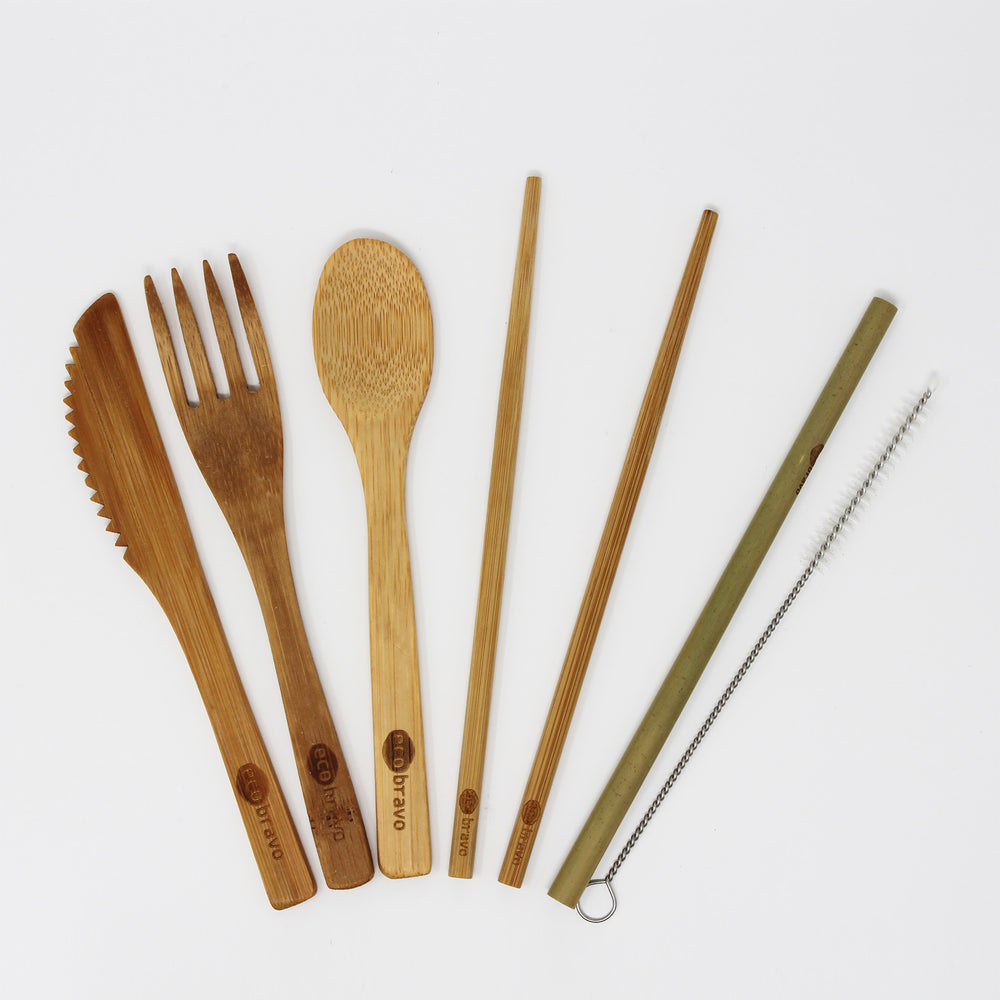 7 Pcs Reusable Bamboo Cutlery Travel Set (Light) + Case