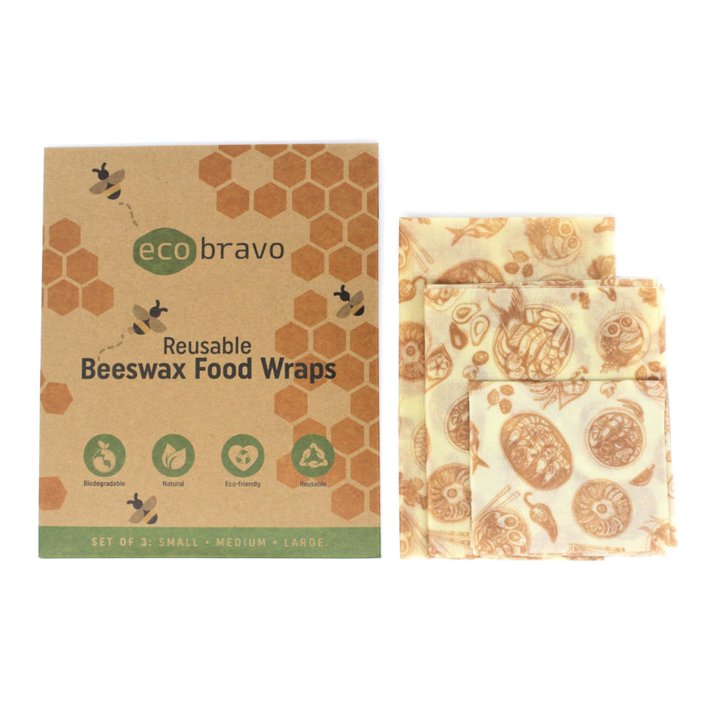 Reusable Beeswax Food Wraps - Set of 3