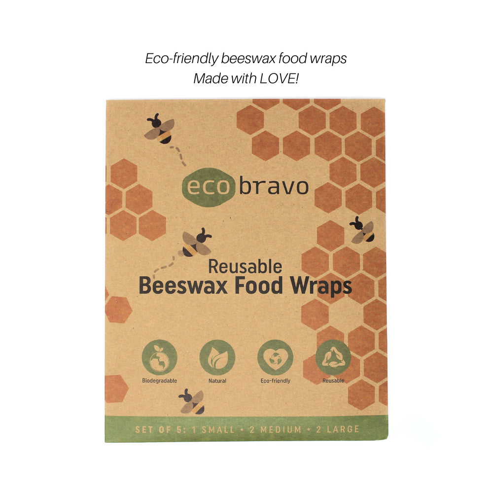 Reusable Beeswax Food Wraps - Set of 5