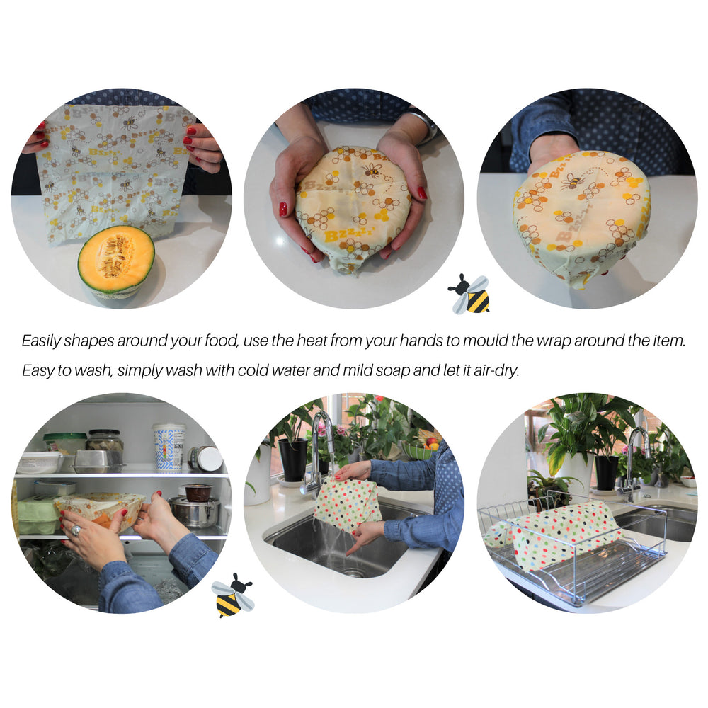 Reusable Beeswax Food Wraps (Set of 3)