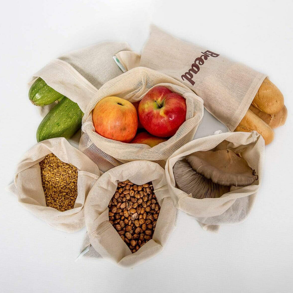 Set of 6 Reusable Organic Cotton Produce Bags