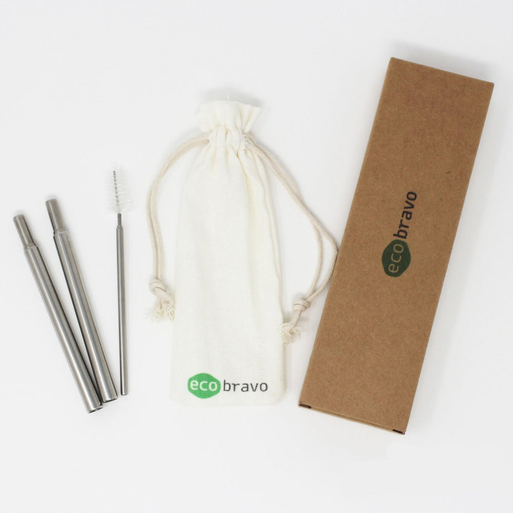 2 Pack Reusable Stainless Steel Drinking Straws