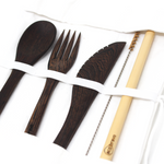 6 Pcs Reusable Wooden Coconut Cutlery Set