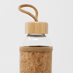 Reusable Glass Water Bottle with Cork Sleeve and Bamboo Lid (600ml)