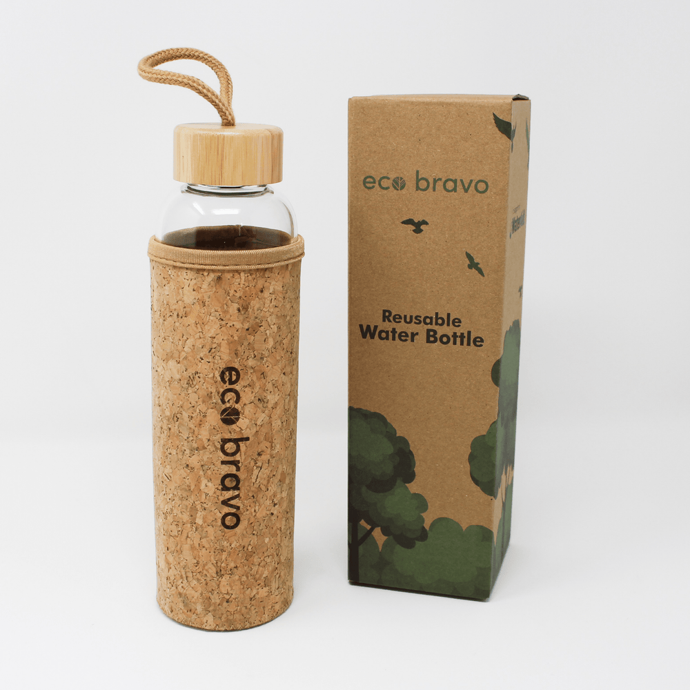 Glass Reusable Water Bottle with Cork Sleeve and Bamboo Lid (600ml)