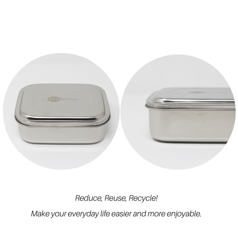 Stainless Steel Lunch Box with Reusable Cutlery (2 Compartments)