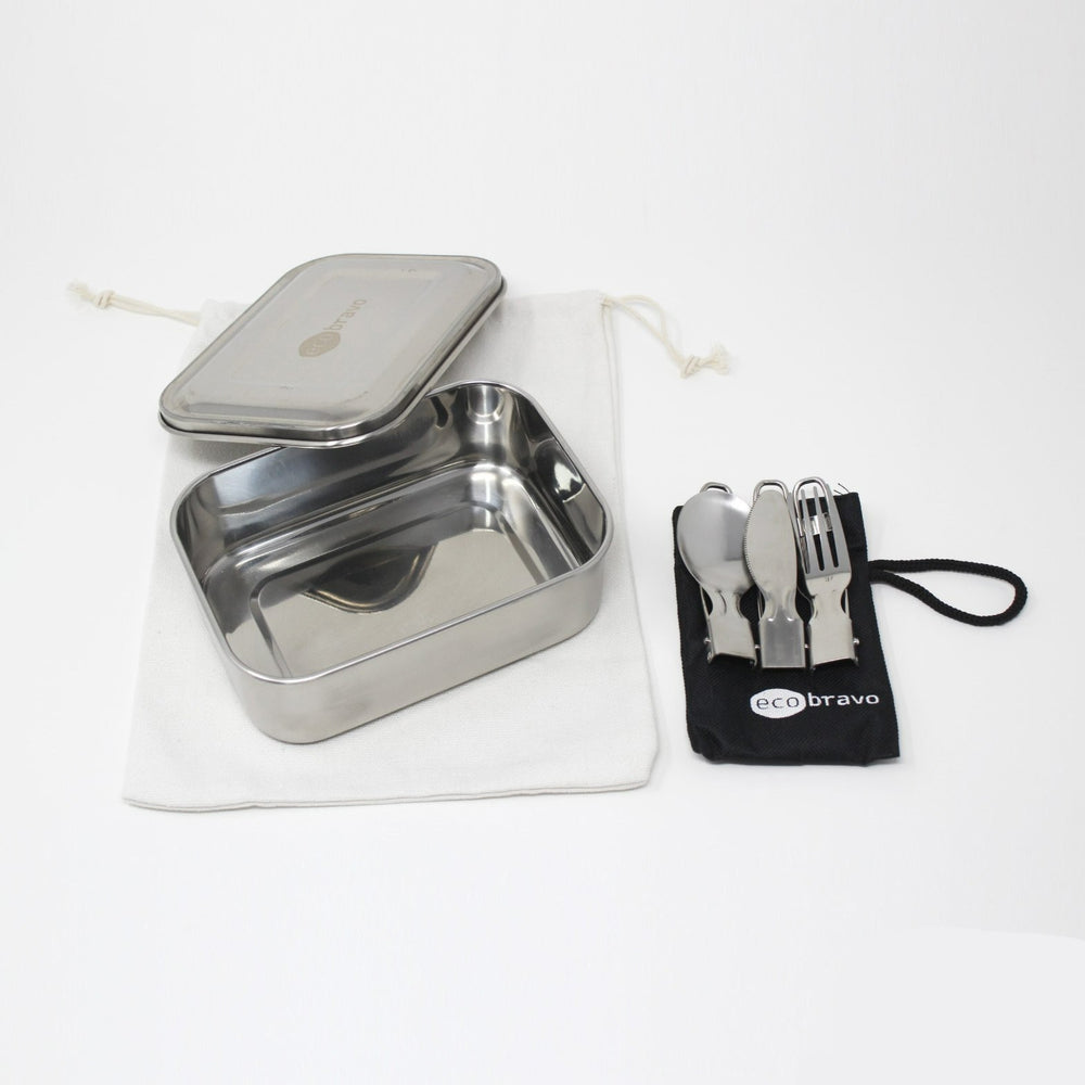 Stainless Steel Lunch Box with Reusable Cutlery Set
