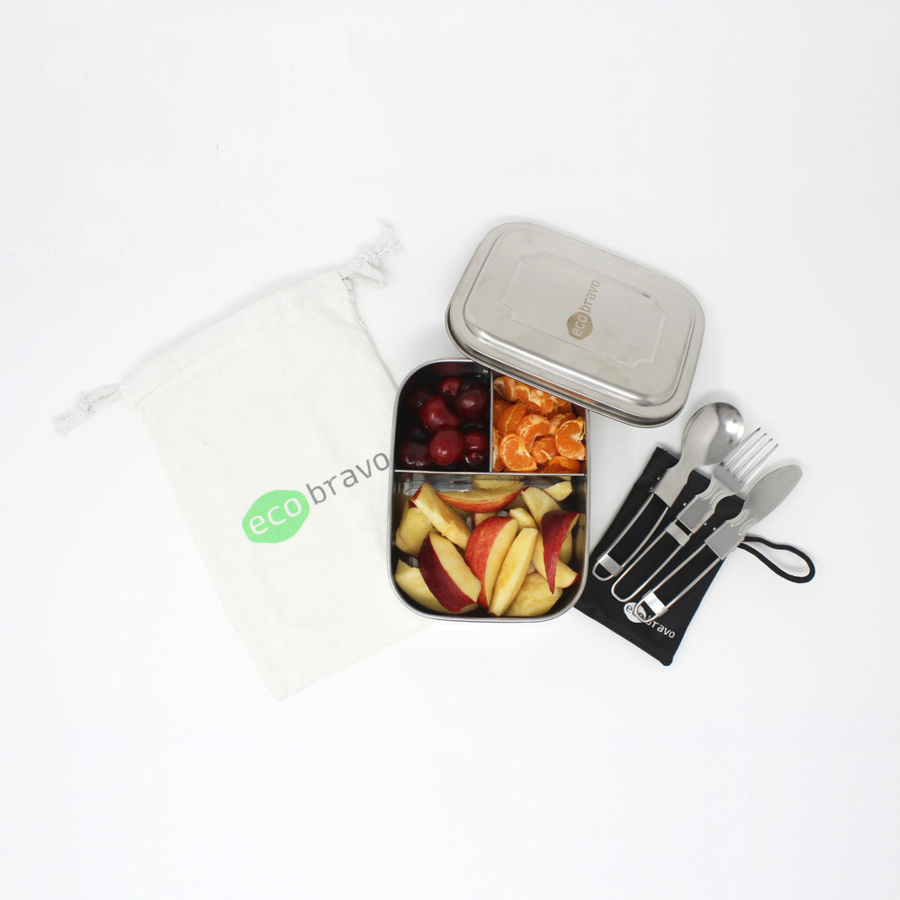 Stainless Steel Lunchbox Set with Reusable Cutlery and Bag (3 Compartments)
