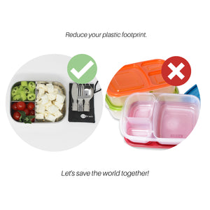 Stainless Steel Lunchbox Set with Reusable Cutlery and Bag