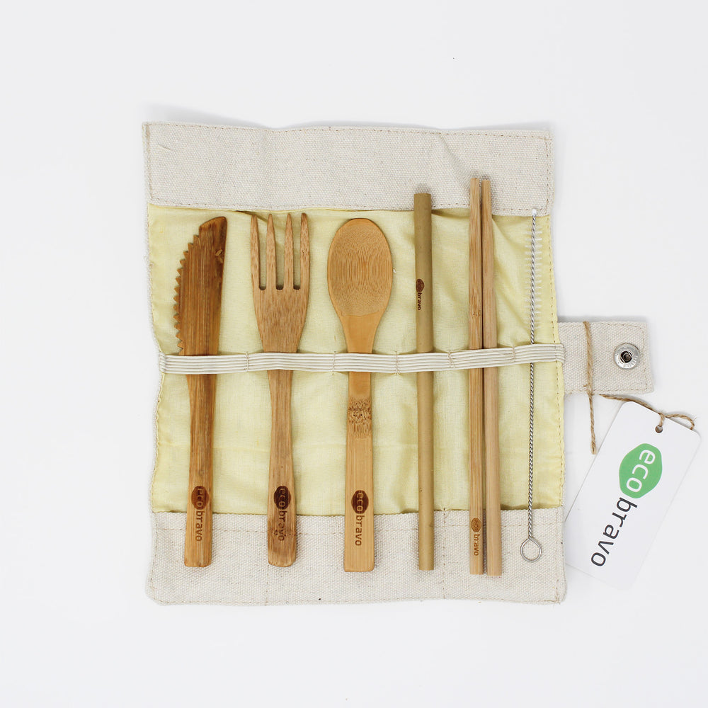 Reusable Bamboo Cutlery Set with Fabric Pouch