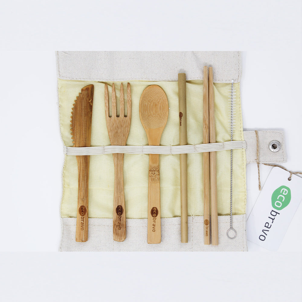 7 Pcs Reusable Bamboo Cutlery Set