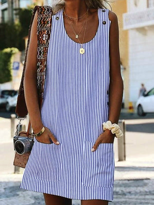Casual Sleeveless Plain Pockets Dresses