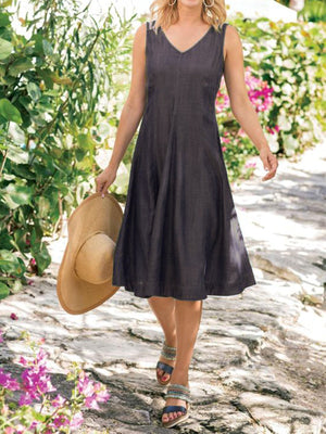 Sleeveless Casual V Neck Dresses