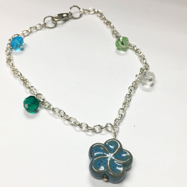 Floral beaded anklet