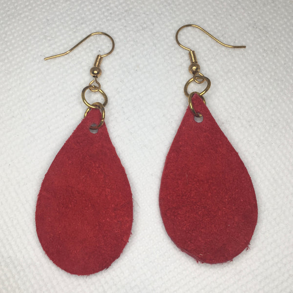 Red leather suede earrings