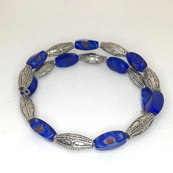 Blue and silver tube beaded bracelet
