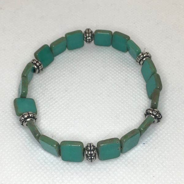 Square glass beaded bracelet