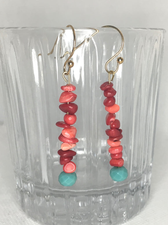 Red chip beaded earrings