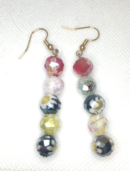 Millefiori round faceted beaded earrings