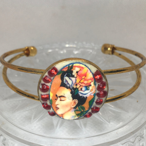 Gold Frida mosaic bangle