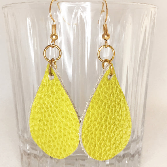 Lime green leather earrings