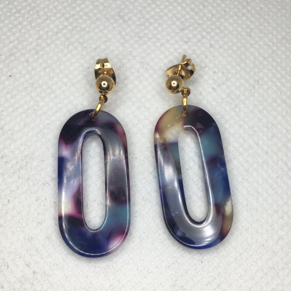Oval acrylic earrings