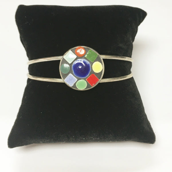 Silver plated mosaic bangle