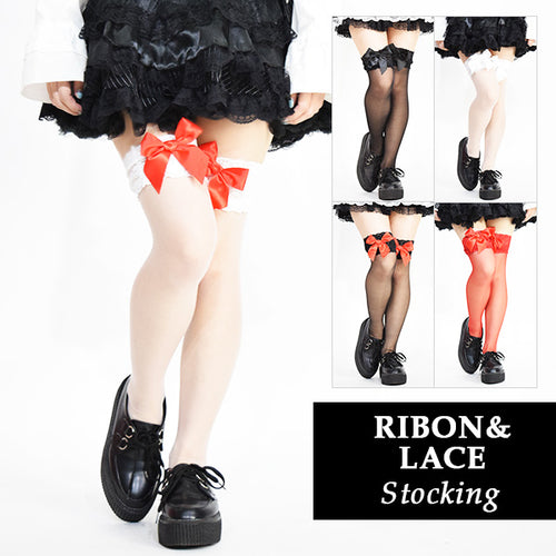 Ribbon lace stockings