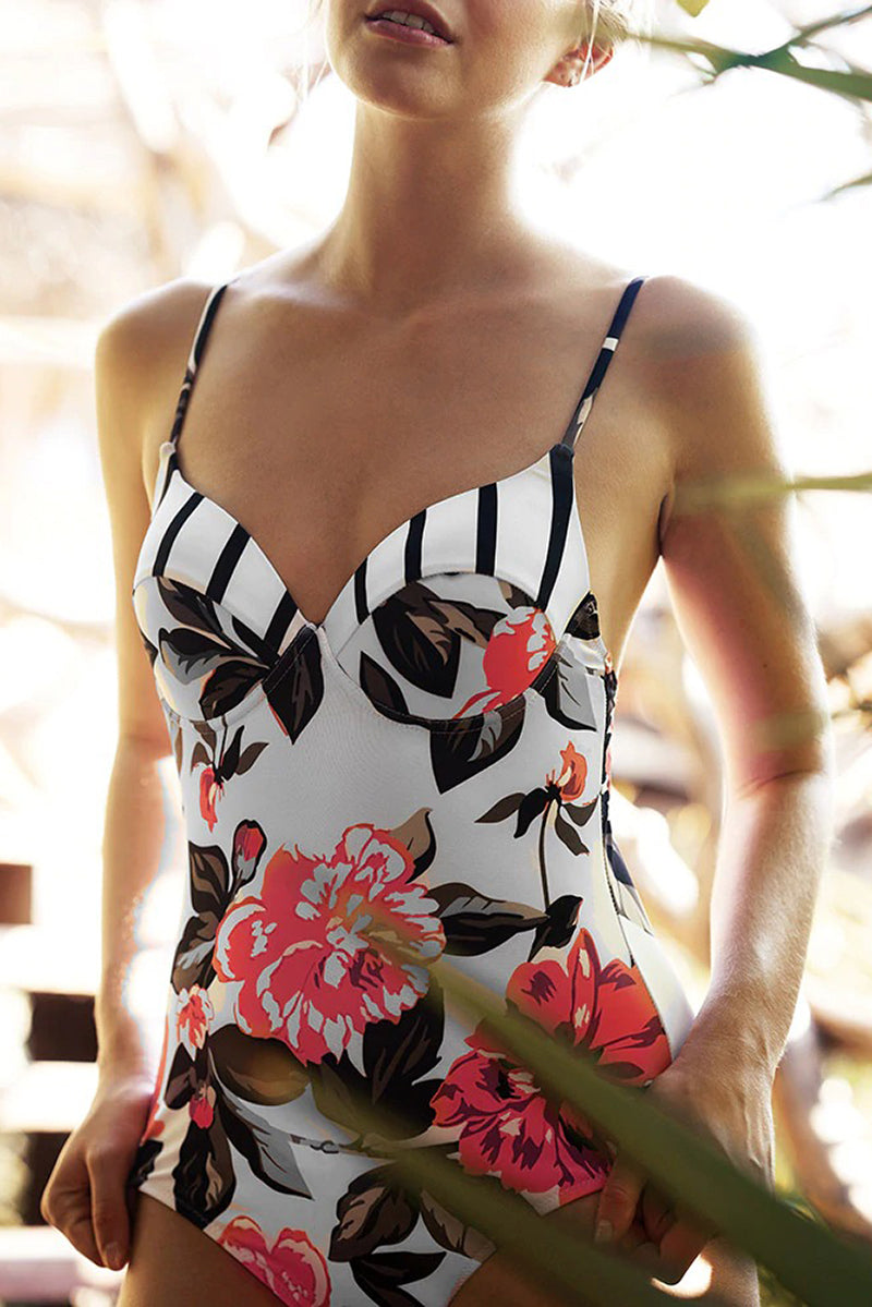 Maiô Push-Up Estampa Floral