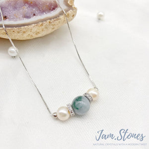 Water-Hue Lavender Jade x Pearl Tri Necklace