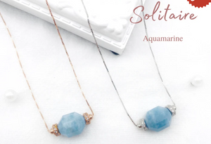 Aquamarine Geometric Necklace