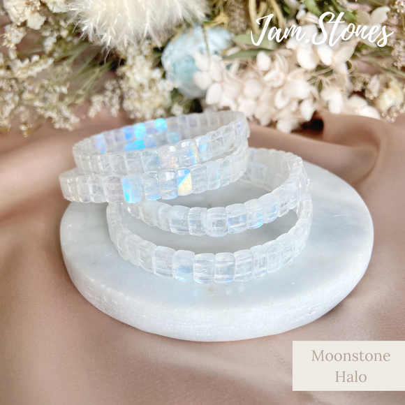 Moonstone Halo Bracelet Bangle