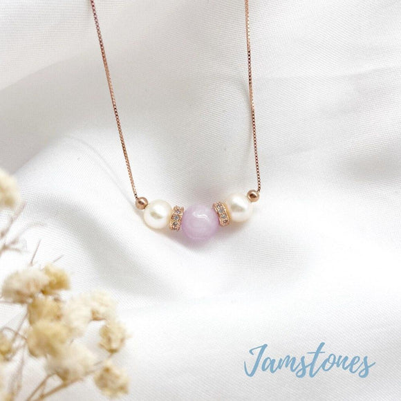 Kunzite Tri Pearl Necklace