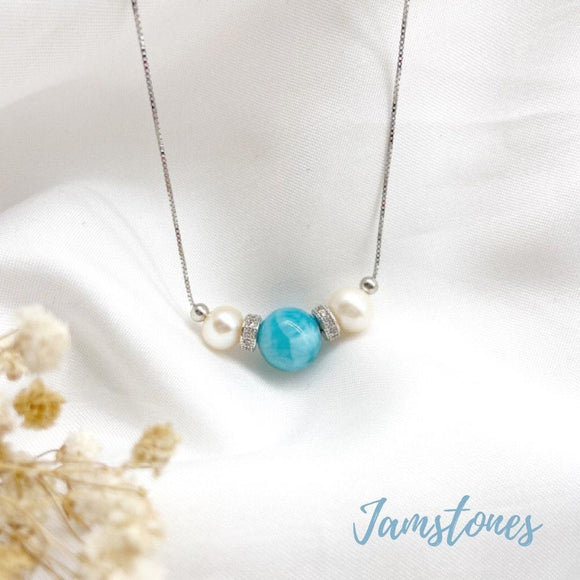 Larimar Tri Pearl Necklace