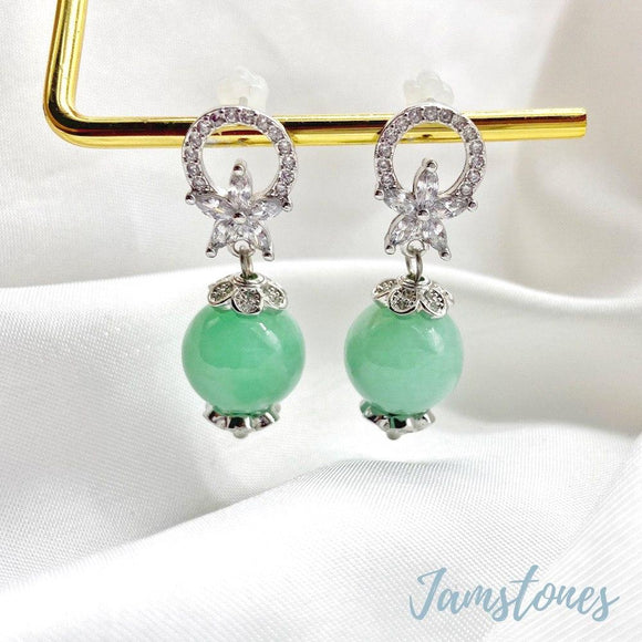 Halo Sakura Earrings ( Grade A Jade )