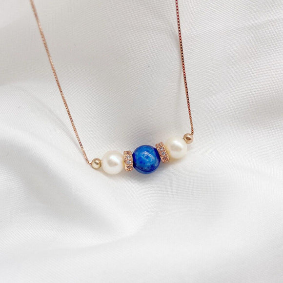 Kyanite Tri Pearl Necklace