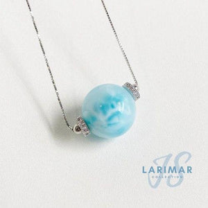 Solitaire Larimar Necklace (16mm)