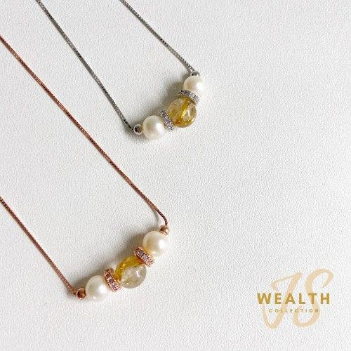 Gold Rutile X Tri Pearl Necklace