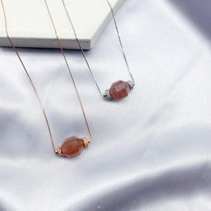 Strawberry Quartz Geometric Necklace