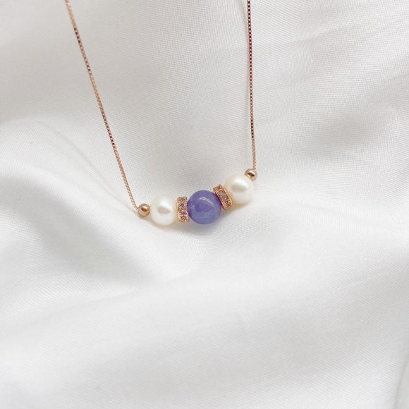 Tanzanite Tri Pearl Necklace