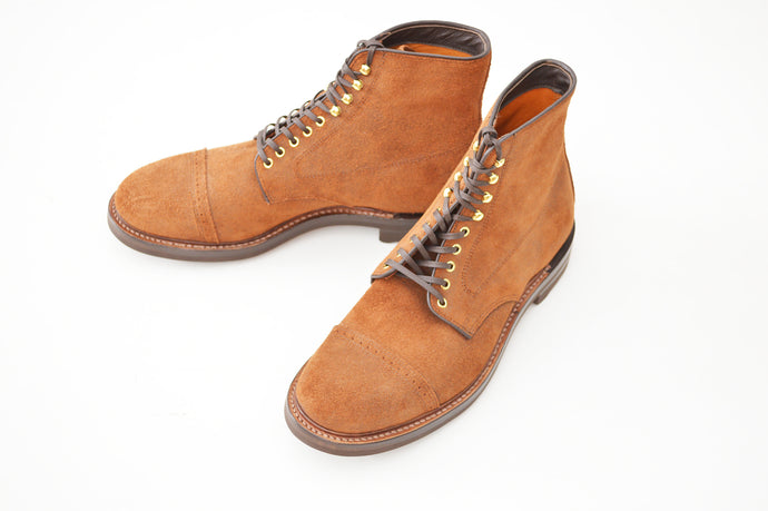 #15068SR CAP TOE LACE UP BOOTS CAMEL