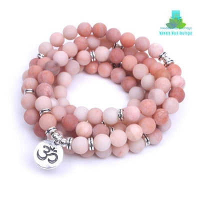 108 Pink Natural Stone Frosted Mala Bracelet - Wander Wild Boutique