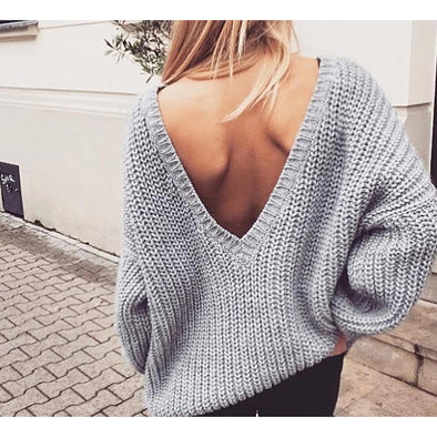 Backless V-neck Sweater - Wander Wild Boutique