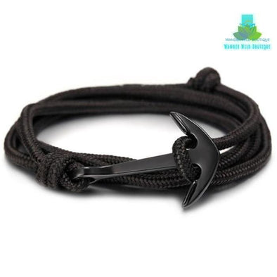 Black Survival Rope Anchor Bracelet - Wander Wild Boutique