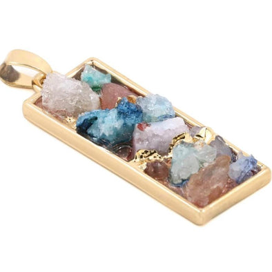 Colorful Druzy Natural Crystal Stone Necklace