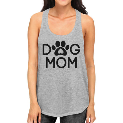 Dog Mom Grey Cute Dog Paw Graphic Tank - Wander Wild Boutique