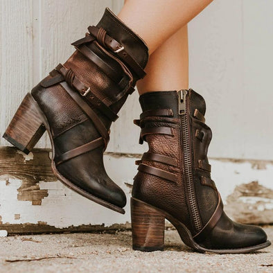 High-heeled Buckle Back Zipper Boots