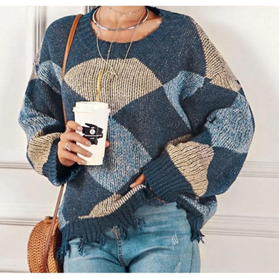 Patchwork Cozy Pullover Sweater - Wander Wild Boutique