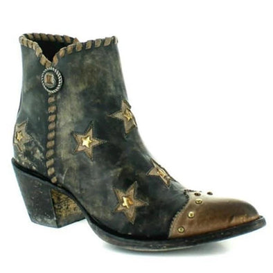 PU Leather Booties With Rivet Stars